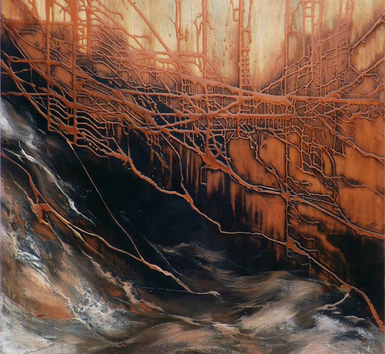 Marjan Fahimi - Bronze-River---tecnica-mista-e-resina-su-tavole---120x120-cm---2017