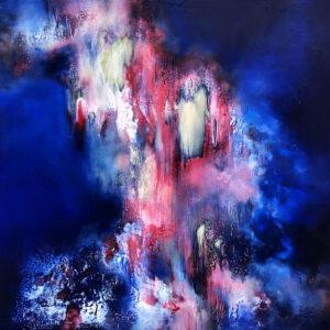 Marjan Fahimi - Close-my-eyes-just-to-look-at-you---tecnica-mista-e-resina-su-tavola---100x100-cm---2020