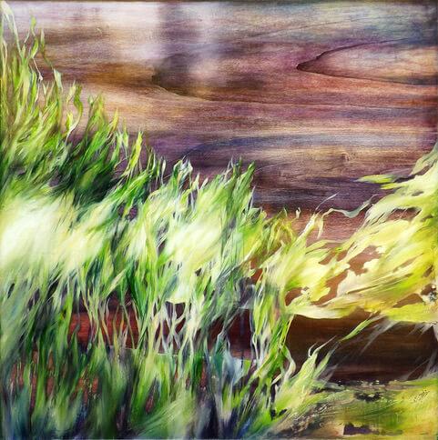 Marjan Fahimi - Summertime - tecnica mista e resina su tavola - 100x100 cm - 2018
