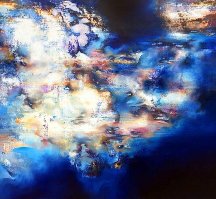 Marjan Fahimi - Waiting-for-tomorrow-I---Tecnica-mista-e-resina-su-tavola---85x100-cm---2020