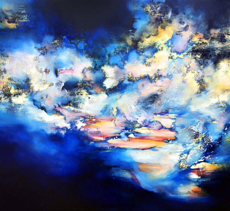 Marjan Fahimi - Waiting-for-tomorrow-II---Tecnica-mista-e-resina-su-tavola---85x100-cm---2020
