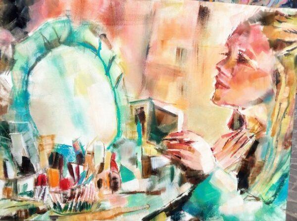 Chiara Abbaticchio -Un velo di trucco e poi... - olio su tela cm 80x60 - 2019