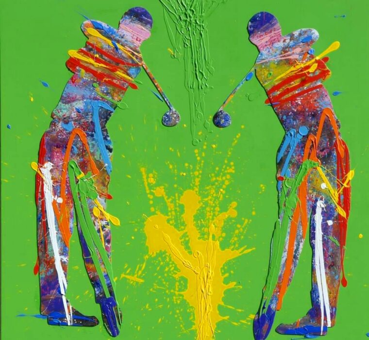 NATINO CHIRICO - GOLFER 90x90 - OIL ACRYLIC AND MIXED MEDIA ON CANVAS - 2018
