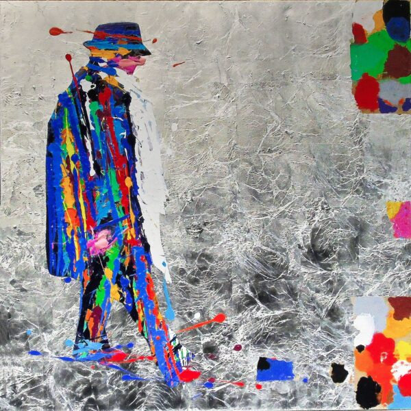 NATINO CHIRICO - FEDERICO FELLINI-90x90-OIL ACRYLIC AND SILVER LEAF AND MIXED MEDIA ON CANVAS-2020